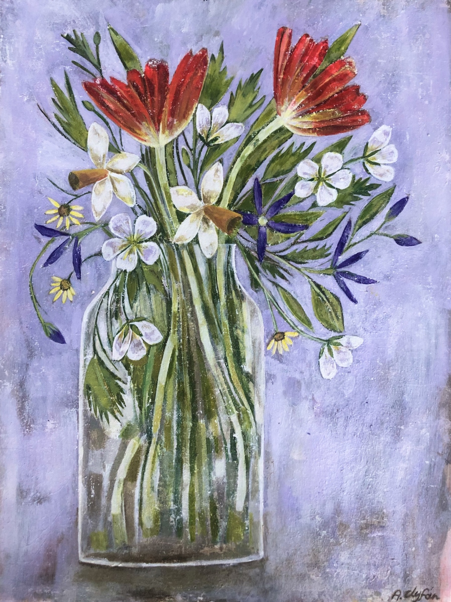 AMY ROSE CLYFAN | 17. LATE SPRING FLOWERS | ACRYLIC ON CANVAS PAPER | 56 x 45 cm | £695<br/>