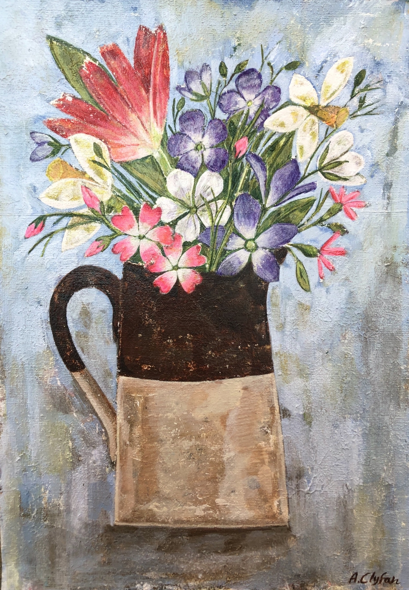AMY ROSE CLYFAN | 18. OLD JUG, SPRING FLOWERS | ACRYLIC ON CANVAS PAPER | 46 x 36 cm | £575<br/>