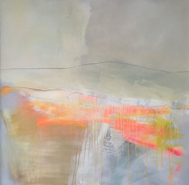 """POPPY CYSTER   BRIGHT SKIES AHEAD   MIXED MEDIA ON CANVAS   100 x 100cm   £4000<br /><a class=""""buy-button"""" href=""""mailto:info@dacre-art.com?subject=Website%20Enquiry"""">Enquire</a>"""