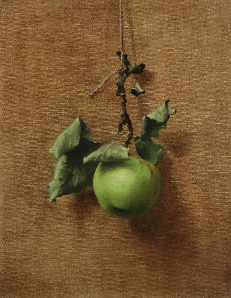"HENRIETTA ABEL SMITH | HANGING APPLE | Oil on Canvas | 36 x 28cm<br /><a class=""buy-button"" href=""mailto:info@dacre-art.com?subject=Website%20Enquiry"">Enquire</a>"