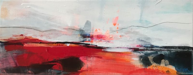 """POPPY CYSTER   FALL SHORES   MIXED MEDIA ON CANVAS   20 x 50cm   £850<br /><a class=""""buy-button"""" href=""""mailto:info@dacre-art.com?subject=Website%20Enquiry"""">Enquire</a>"""