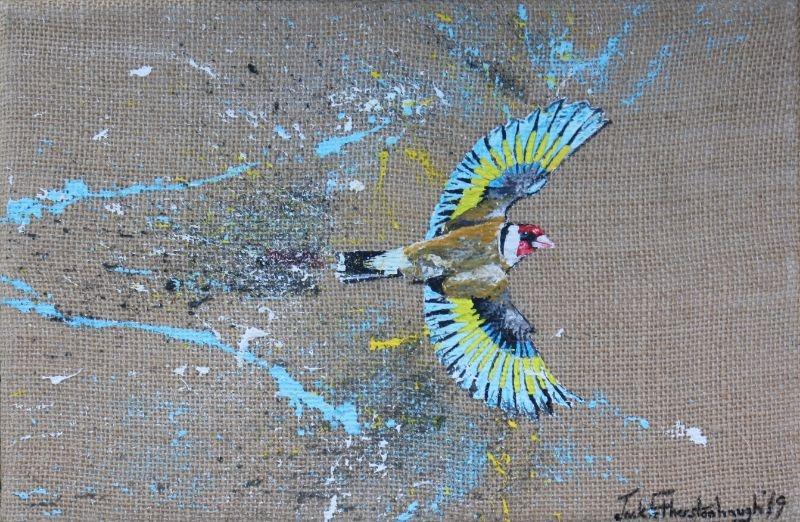 "JACK FETHERSTONHAUGH   GOLDFINCH   ACRYLIC ON HESSIAN   20 x 30cm   £550<br /><a class=""buy-button"" href=""mailto:info@dacre-art.com?subject=Website%20Enquiry"">Enquire</a>"