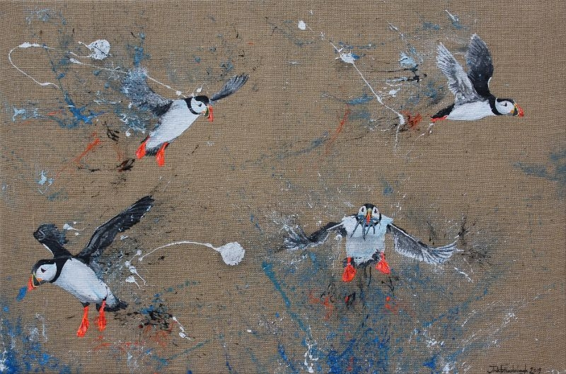 """JACK FETHERSTONHAUGH   GROUP OF FISHING PUFFINS   ACRYLIC ON HESSIAN   60 x 90cm   SOLD <br /><a class=""""buy-button"""" href=""""mailto:info@dacre-art.com?subject=Website%20Enquiry"""">Enquire</a>"""