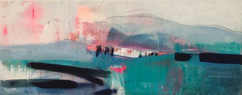 """POPPY CYSTER   LOCH TIDE 2   MIXED MEDIA ON CANVAS   20 x 50cm <br /><a class=""""buy-button"""" href=""""mailto:info@dacre-art.com?subject=Website%20Enquiry"""">Enquire</a>"""