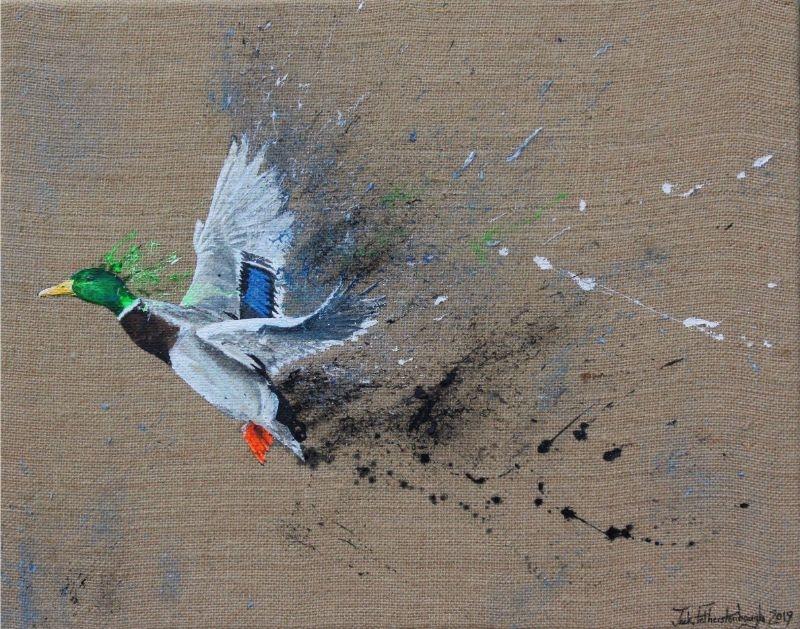 "JACK FETHERSTONHAUGH   MALLARD   ACRYLIC ON HESSIAN   40 x 50cm   £1,050<br /><a class=""buy-button"" href=""mailto:info@dacre-art.com?subject=Website%20Enquiry"">Enquire</a>"