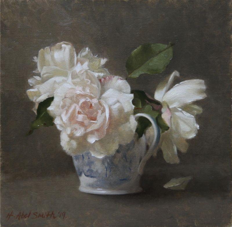 "HENRIETTA ABEL SMITH | ROSES IN A BLUE JUG | OIL ON CANVAS | 28 x 28cm<br /><a class=""buy-button"" href=""mailto:info@dacre-art.com?subject=Website%20Enquiry"">Enquire</a>"