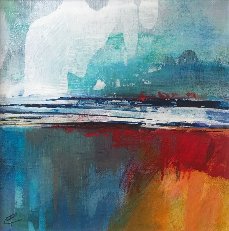 """POPPY CYSTER   SPRINGTIME STORMS   MIXED MEDIA ON CANVAS   20 x 20cm <br /><a class=""""buy-button"""" href=""""mailto:info@dacre-art.com?subject=Website%20Enquiry"""">Enquire</a>"""