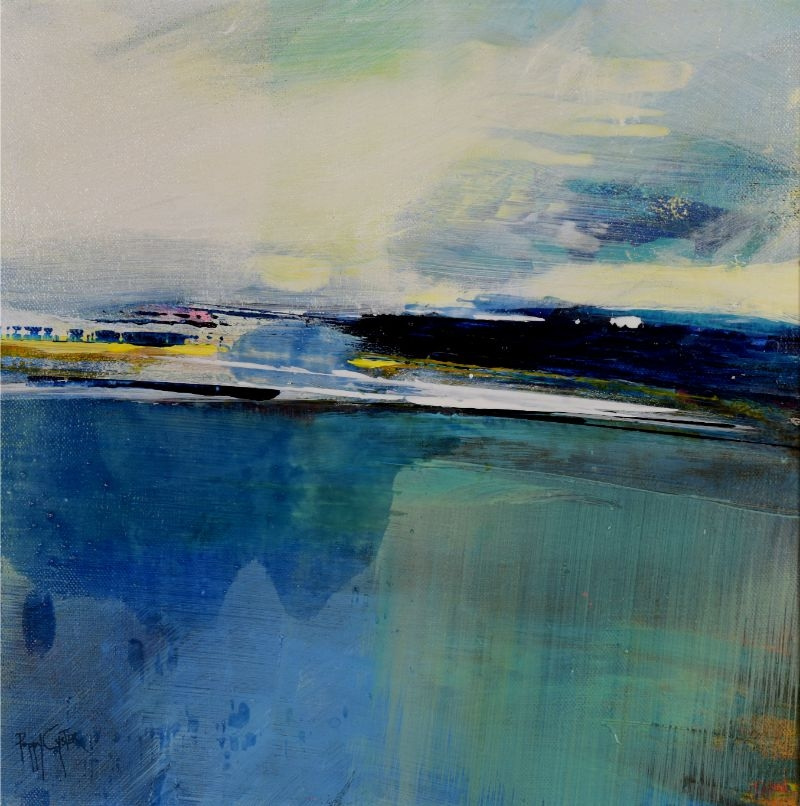 """POPPY CYSTER   TEAL TIDE   MIXED MEDIA ON CANVAS   30 x 30cm   £960<br /><a class=""""buy-button"""" href=""""mailto:info@dacre-art.com?subject=Website%20Enquiry"""">Enquire</a>"""