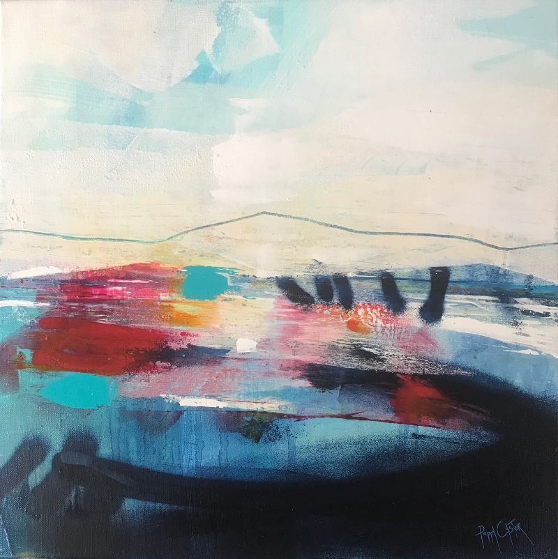 """POPPY CYSTER   THE WELCOME AWAITS   MIXED MEDIA ON CANVAS   40 x 40cm   £1,440<br /><a class=""""buy-button"""" href=""""mailto:info@dacre-art.com?subject=Website%20Enquiry"""">Enquire</a>"""