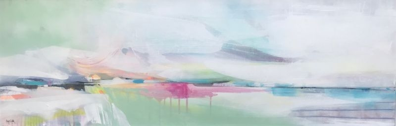 """POPPY CYSTER   TIME ADRIFT   MIXED MEDIA ON CANVAS   40 x 120cm   £2800<br /><a class=""""buy-button"""" href=""""mailto:info@dacre-art.com?subject=Website%20Enquiry"""">Enquire</a>"""