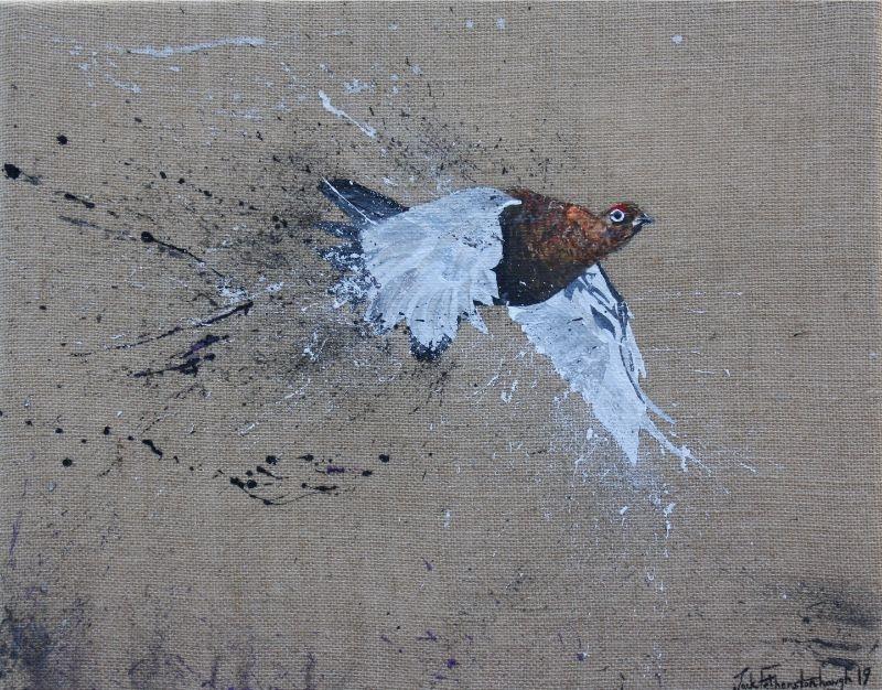 "JACK FETHERSTONHAUGH   GROUSE   ACRYLIC ON HESSIAN   40 x 50cm   £1,050<br /><a class=""buy-button"" href=""mailto:info@dacre-art.com?subject=Website%20Enquiry"">Enquire</a>"