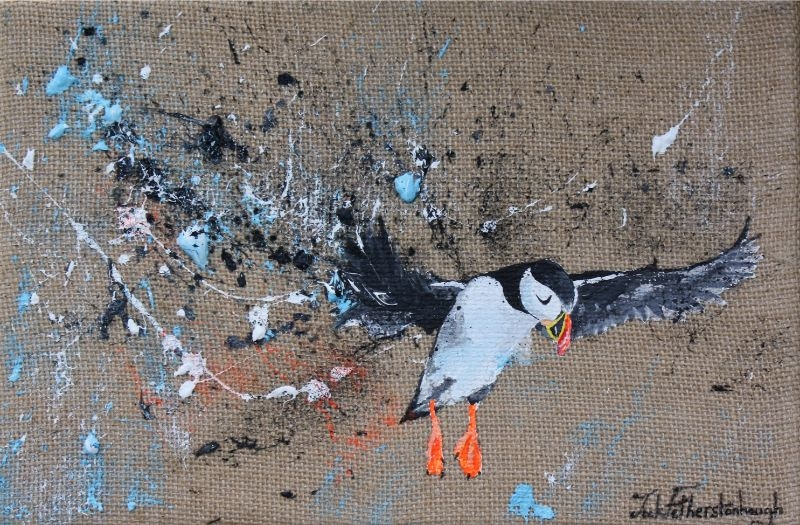 """JACK FETHERSTONHAUGH   PUFFIN   ACRYLIC ON HESSIAN   20 x 30cm   SOLD<br /><a class=""""buy-button"""" href=""""mailto:info@dacre-art.com?subject=Website%20Enquiry"""">Enquire</a>"""