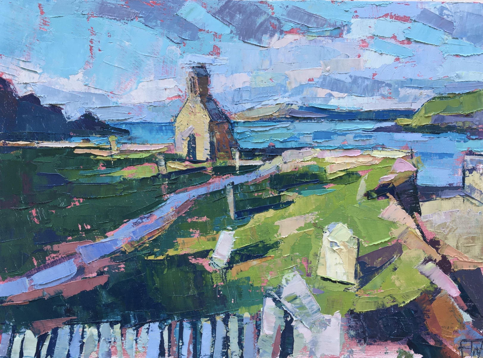 """FRANCES WATTS    THE ERODED CHURCH   OIL ON BOARD   20 x 27 cm   £650<br /><a class=""""buy-button"""" href=""""mailto:info@dacre-art.com?subject=Website%20Enquiry"""">Enquire</a>"""