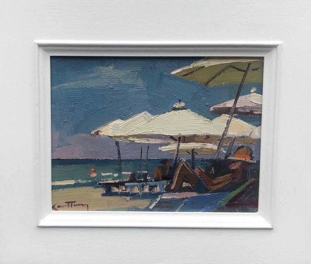 """KARL TERRY   27. UNDER THE PARASOLS   OIL ON BOARD   14 x 19 cm   £600<br /><a class=""""buy-button"""" href=""""mailto:info@dacre-art.com?subject=Website%20Enquiry"""">Enquire</a>"""