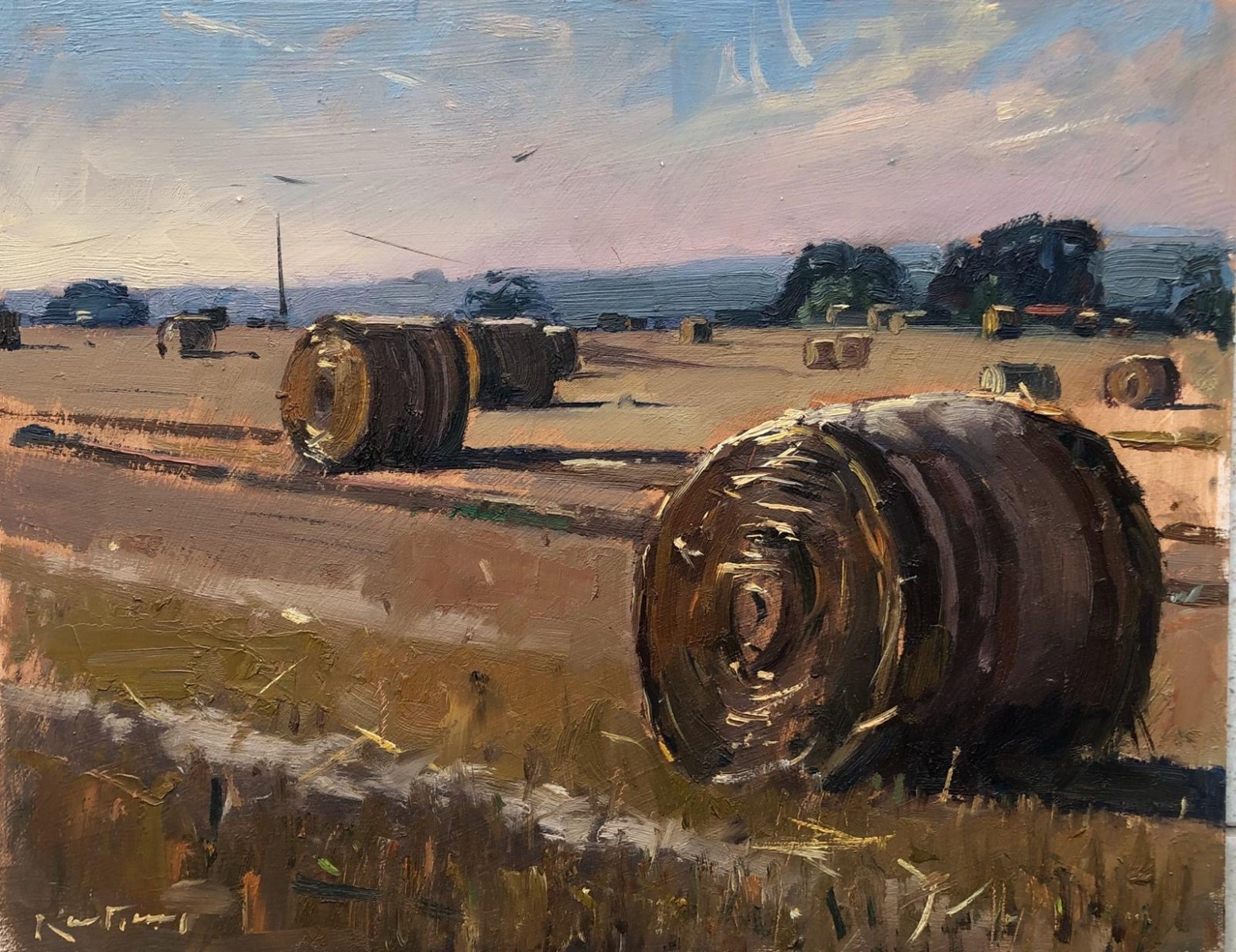 """KARL TERRY   26. HAY BALES   OIL ON BOARD   27 x 34 cm   £900<br /><a class=""""buy-button"""" href=""""mailto:info@dacre-art.com?subject=Website%20Enquiry"""">Enquire</a>"""