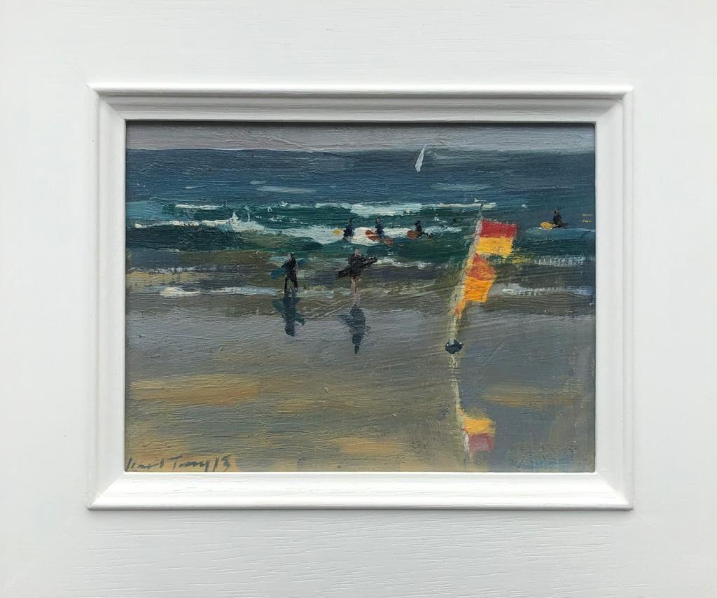 """KARL TERRY   28. SURF'S UP   OIL ON BOARD   14 x 19 cm   £600<br /><a class=""""buy-button"""" href=""""mailto:info@dacre-art.com?subject=Website%20Enquiry"""">Enquire</a>"""