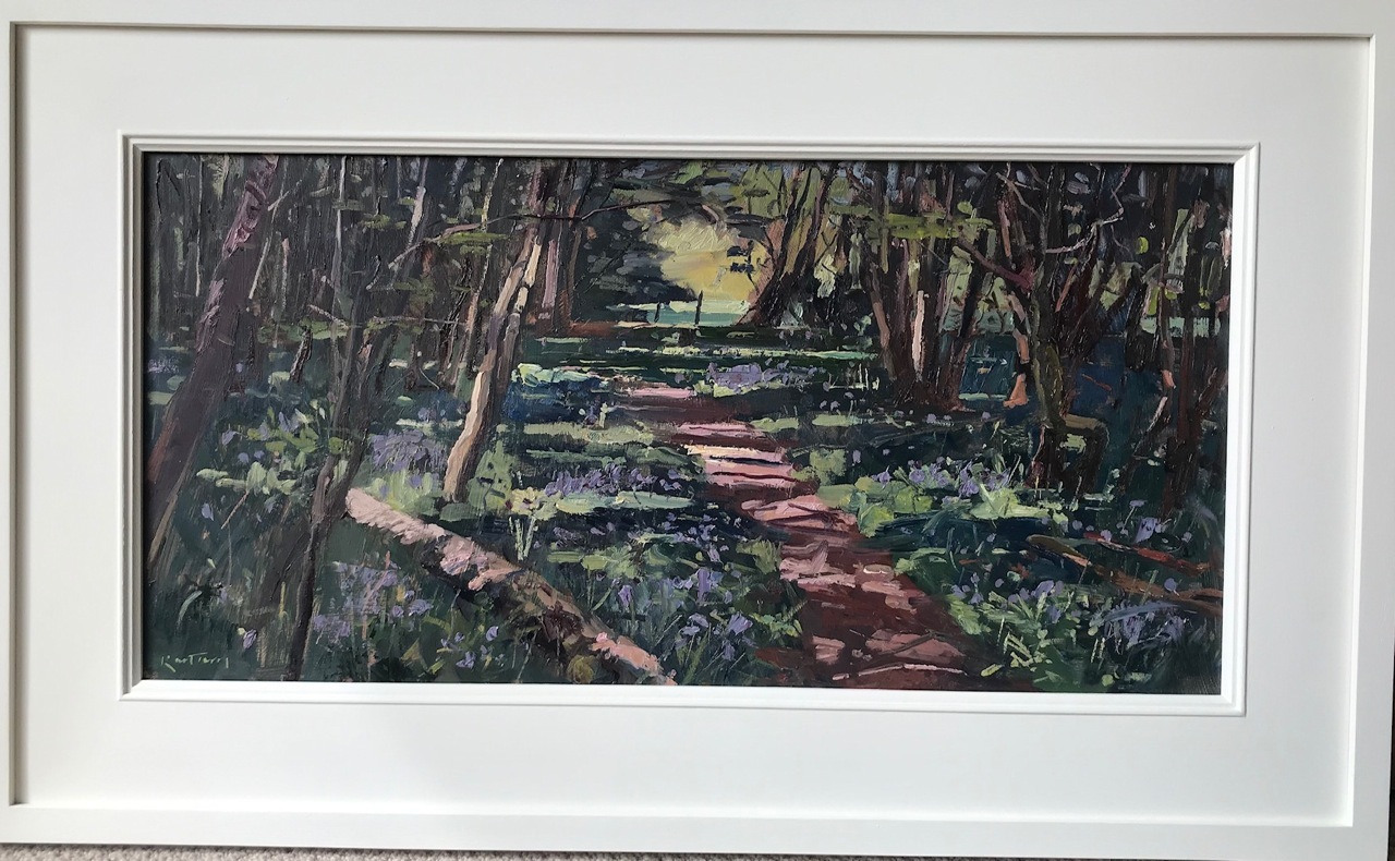 """KARL TERRY   Amongst the Bluebells   OIL ON BOARD   32 x 61 cm   <br /><a class=""""buy-button"""" href=""""mailto:info@dacre-art.com?subject=Website%20Enquiry"""">Enquire</a>"""