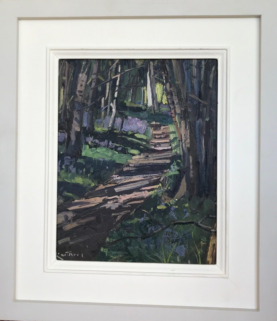 """KARL TERRY   Path Through Bluebell Woods   OIL ON BOARD   26 x 20 cm   £600<br /><a class=""""buy-button"""" href=""""mailto:info@dacre-art.com?subject=Website%20Enquiry"""">Enquire</a>"""