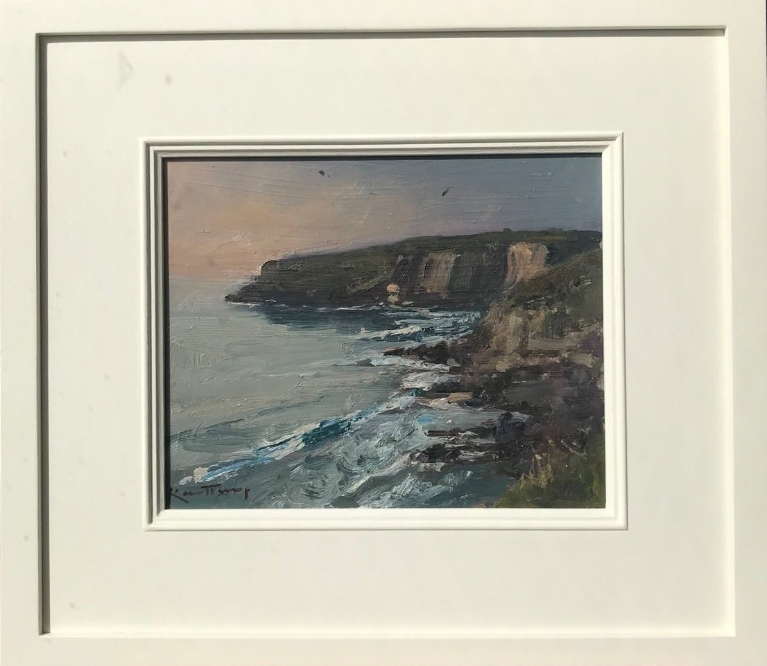 """KARL TERRY   End of the Day - Trebarwith Strand   OIL ON BOARD   20 x 26 cm   <br /><a class=""""buy-button"""" href=""""mailto:info@dacre-art.com?subject=Website%20Enquiry"""">Enquire</a>"""