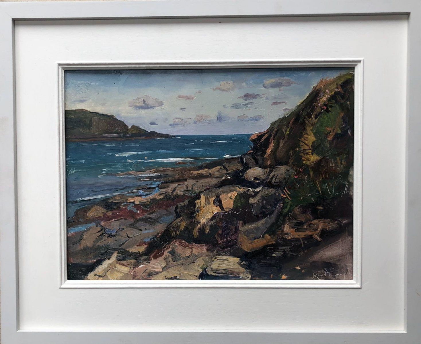 """KARL TERRY   22. SUNLIT ROCKS, DAYMER BAY   OIL ON BOARD   29 x 39 cm   £950<br /><a class=""""buy-button"""" href=""""mailto:info@dacre-art.com?subject=Website%20Enquiry"""">Enquire</a>"""
