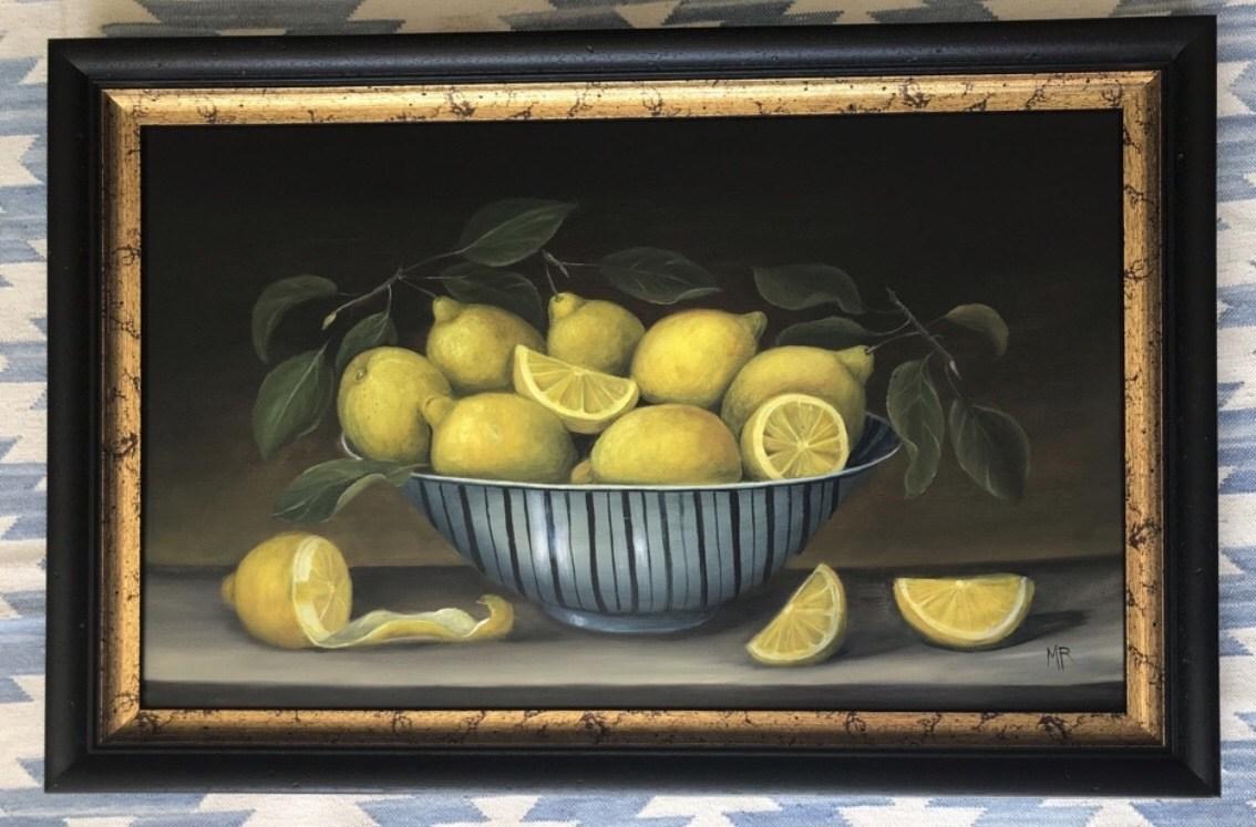 """MIMI ROBERTS   Bowl of Lemons   OIL ON PANEL   65 x 43 cm   £985<br /><a class=""""buy-button"""" href=""""mailto:info@dacre-art.com?subject=Website%20Enquiry"""">Enquire</a>"""