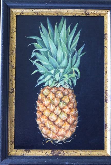 "MIMI ROBERTS   Pineapple   OIL ON PANEL   47 x 35 cm   £525<br /><a class=""buy-button"" href=""mailto:info@dacre-art.com?subject=Website%20Enquiry"">Enquire</a>"
