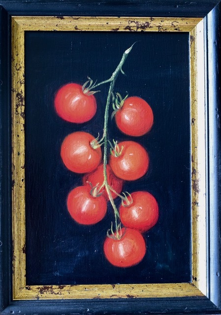 "MIMI ROBERTS   Vine Tomatoes   OIL ON PANEL   30 x 21 cm   £435<br /><a class=""buy-button"" href=""mailto:info@dacre-art.com?subject=Website%20Enquiry"">Enquire</a>"
