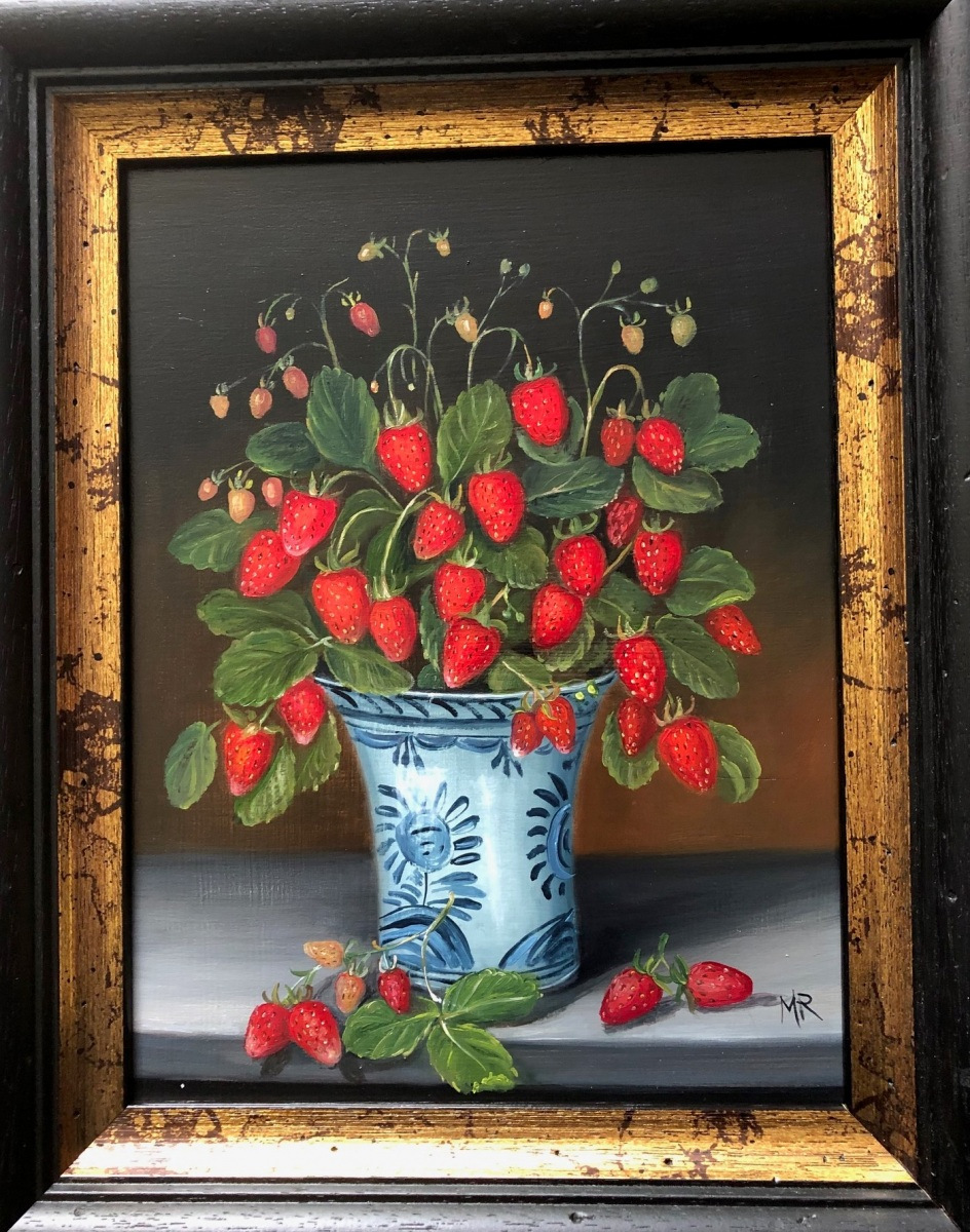 """MIMI ROBERTS   Strawberries in a Bowl   OIL ON PANEL   25 x 33 cm   £595<br /><a class=""""buy-button"""" href=""""mailto:info@dacre-art.com?subject=Website%20Enquiry"""">Enquire</a>"""