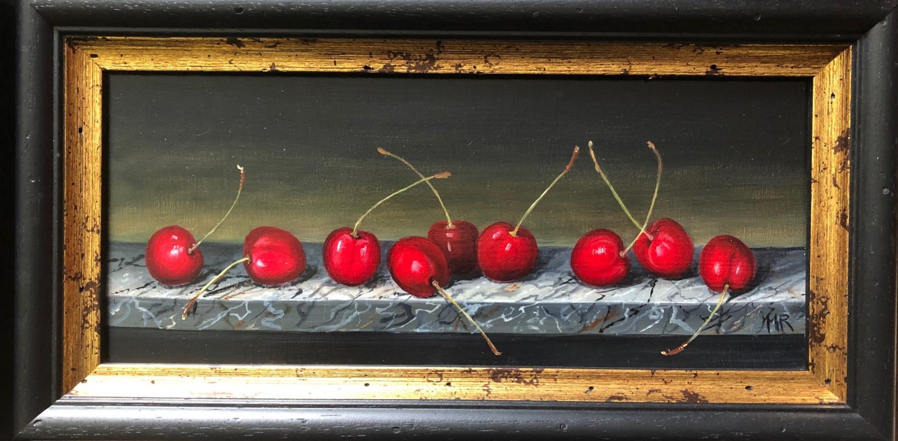 "MIMI ROBERTS   Cherries on a Top  OIL ON PANEL   18 x 36 cm   £485<br /><a class=""buy-button"" href=""mailto:info@dacre-art.com?subject=Website%20Enquiry"">Enquire</a>"