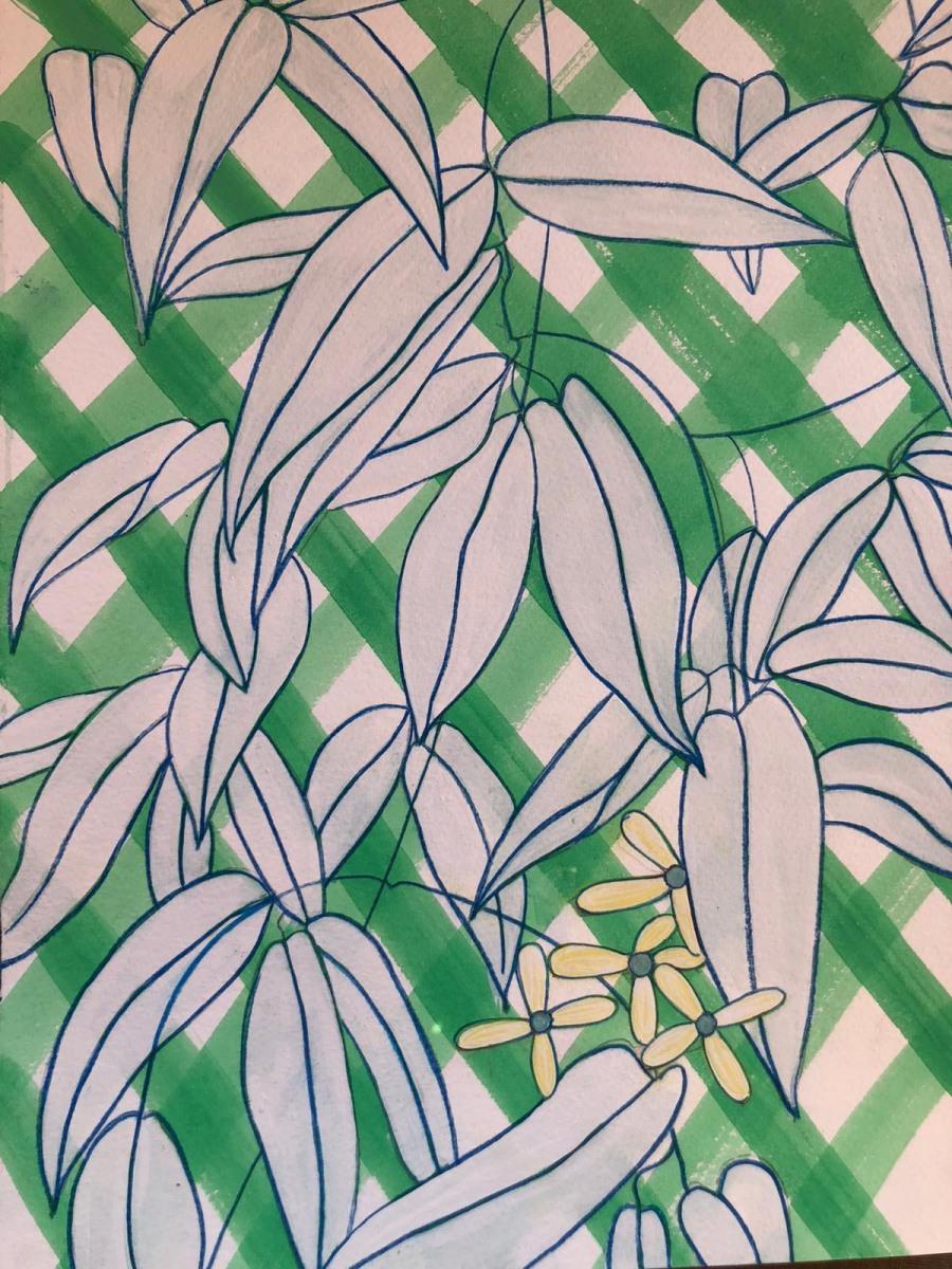 MOUSE CAZALET | 19. GREEN TRELLIS | GOUACHE ON PAPER | 37 x 27 cm | £650<br/>