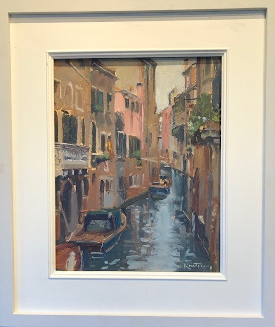 """KARL TERRY   Canal, Venice   OIL ON BOARD   36 x 28 cm   £800<br /><a class=""""buy-button"""" href=""""mailto:info@dacre-art.com?subject=Website%20Enquiry"""">Enquire</a>"""