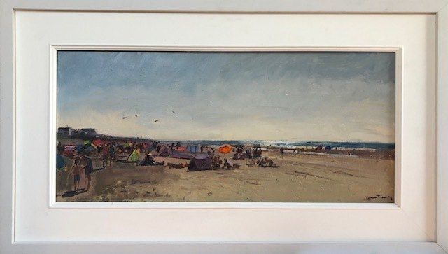 """KARL TERRY   Beach Life, Camber Sands   OIL ON BOARD   30 x 61 cm   £1,400<br /><a class=""""buy-button"""" href=""""mailto:info@dacre-art.com?subject=Website%20Enquiry"""">Enquire</a>"""