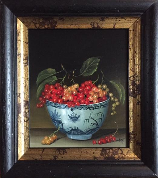 "MIMI ROBERTS | Bowl of Currants | OIL ON PANEL | 29 x 25 cm | £500<br/><a class=""buy-button"" href=""mailto:emily@dacre-art.com?subject=Website Enquiry"">Enquire</a>"