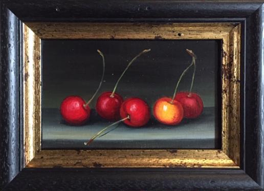 "MIMI ROBERTS | Cherries | OIL ON PANEL | 15 x 20 cm | £295<br/><a class=""buy-button"" href=""mailto:emily@dacre-art.com?subject=Website Enquiry"">Enquire</a>"