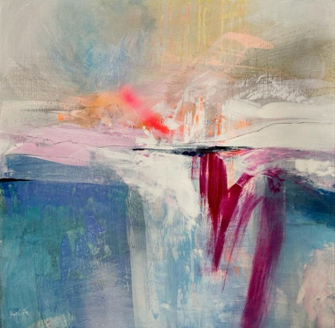 """POPPY CYSTER   HALCYON BAY   MIXED MEDIA ON CANVAS   55 x 55cm   £2,000<br /><a class=""""buy-button"""" href=""""mailto:info@dacre-art.com?subject=Website%20Enquiry"""">Enquire</a>"""