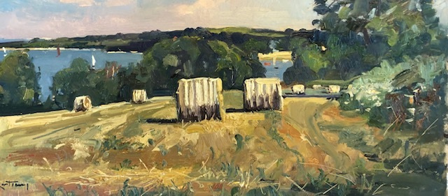 """KARL TERRY   Hay Bales   OIL ON BOARD   30 x 61 cm   £1,400<br /><a class=""""buy-button"""" href=""""mailto:info@dacre-art.com?subject=Website%20Enquiry"""">Enquire</a>"""