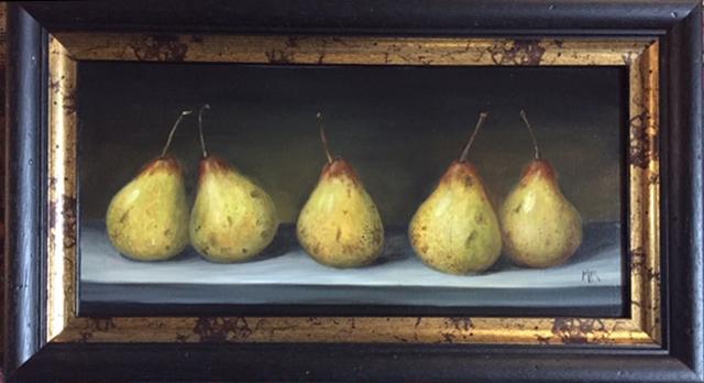 "MIMI ROBERTS | Pears | OIL ON PANEL | 28 x 48 cm | £545<br/><a class=""buy-button"" href=""mailto:emily@dacre-art.com?subject=Website Enquiry"">Enquire</a>"