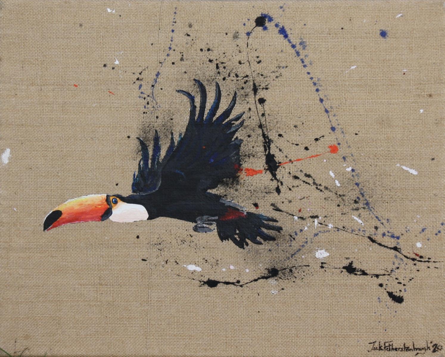 "JACK FETHERSTONHAUGH   TOUCAN   ACRYLIC ON HESSIAN   40 x 50cm   £1,050<br /><a class=""buy-button"" href=""mailto:info@dacre-art.com?subject=Website%20Enquiry"">Enquire</a>"