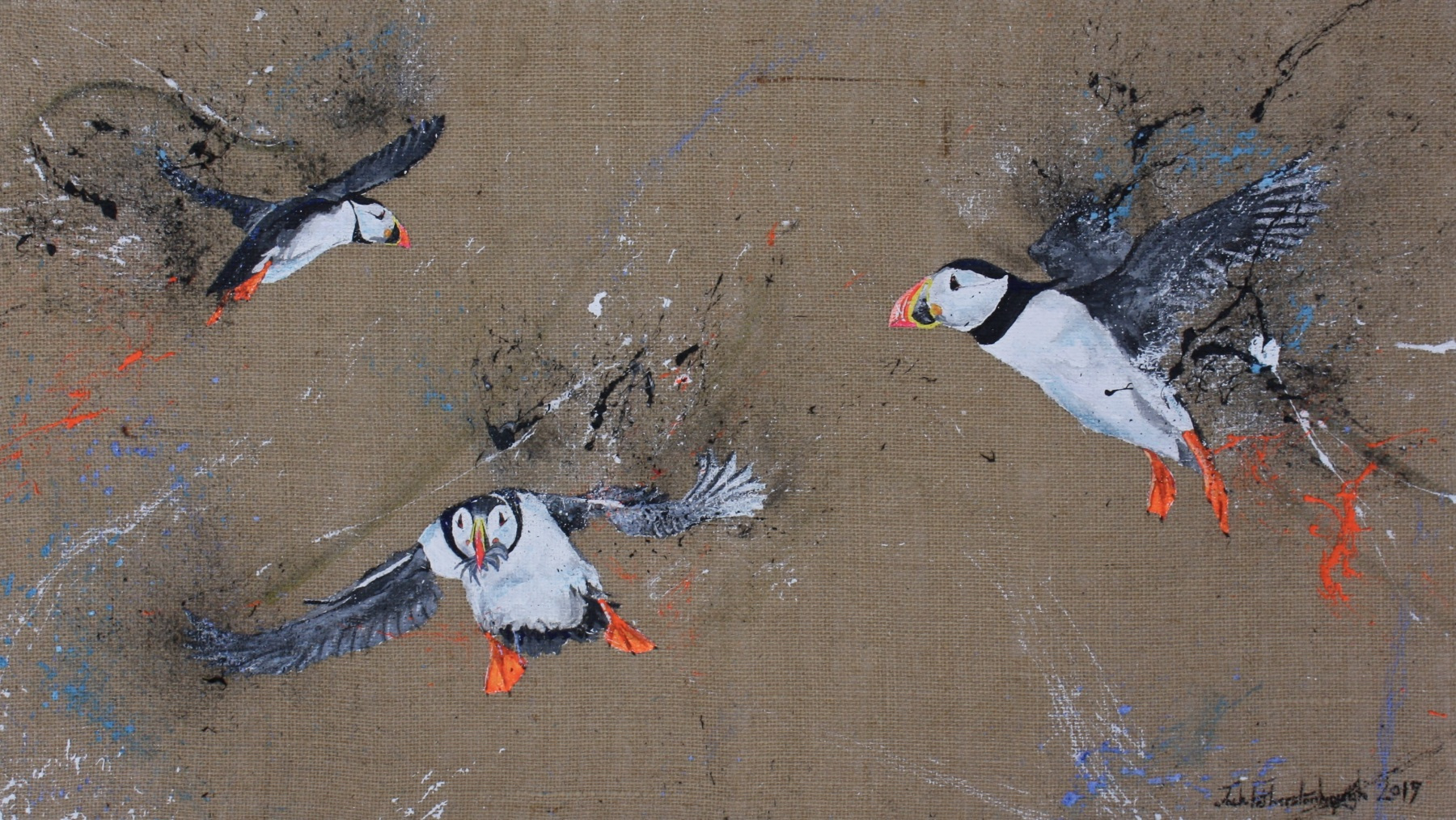 """JACK FETHERSTONHAUGH   TRIO OF PUFFINS   ACRYLIC ON HESSIAN   40 x 70cm   £1,250<br /><a class=""""buy-button"""" href=""""mailto:info@dacre-art.com?subject=Website%20Enquiry"""">Enquire</a>"""