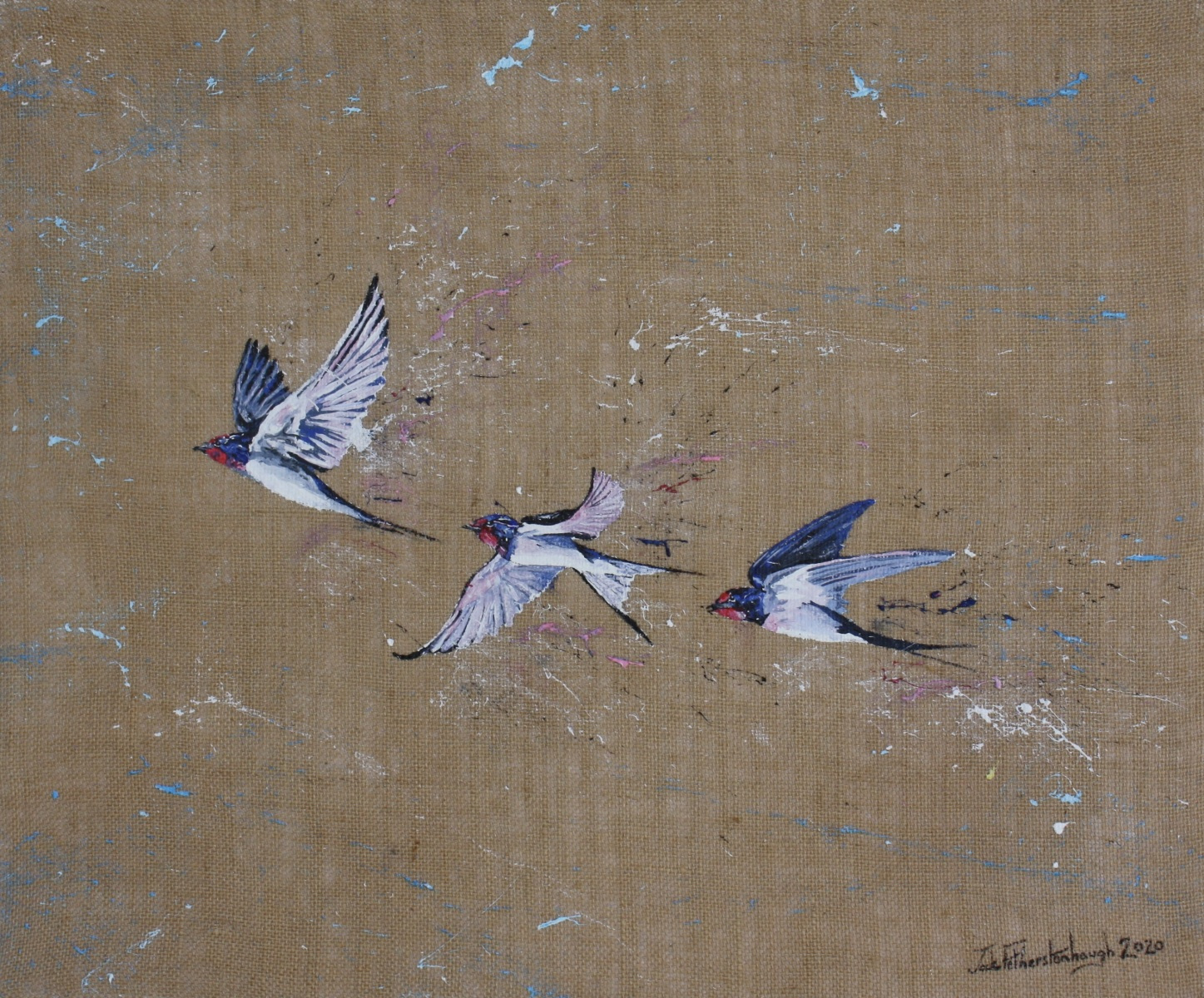 """JACK FETHERSTONHAUGH   TRIO OF SWALLOWS   ACRYLIC ON HESSIAN   50 x 60cm   £1,150<br /><a class=""""buy-button"""" href=""""mailto:info@dacre-art.com?subject=Website%20Enquiry"""">Enquire</a>"""