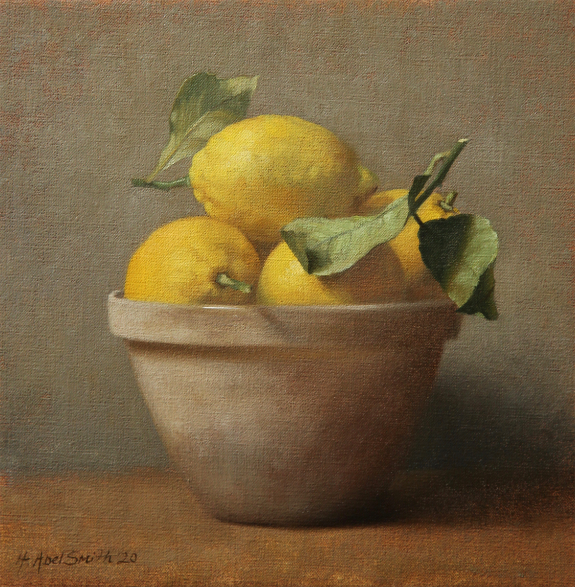 "HENRIETTA ABEL SMITH | Bowl of Lemons | OIL ON CANVAS | 12 x 12 inches | £1250<br /><a class=""buy-button"" href=""mailto:info@dacre-art.com?subject=Website%20Enquiry"">Enquire</a>"